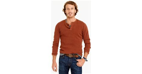 J.crew Wallace & Barnes Thermal Henley In Red For Men