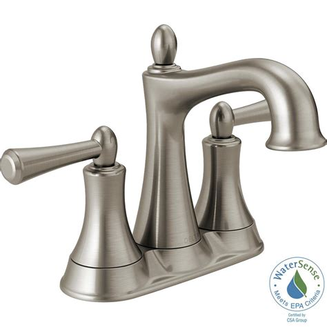 brushed nickel bathroom faucets delta delta rila 4 in centerset 2 handle bathroom faucet in