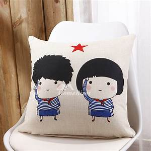 kids cute blue and cream cartoon linen cheap throw pillows With cheap kids pillows