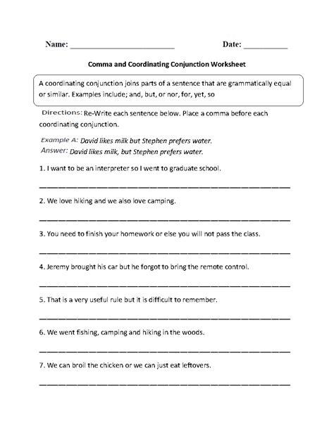 conjunction worksheets 6th grade worksheets for all