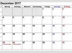 Kalender Dezember 2017 zum Ausdrucken [PDF, Excel, Word