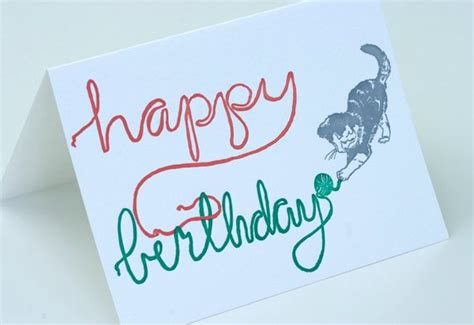 happy birthday letterpress card birthday kitten