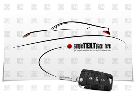 Sketch Of Car Silhouette And Key With Car Alarm On White