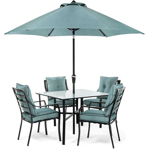 Umbrella And Table Set by Lavallette 5pc Dining Set In Blue With Table