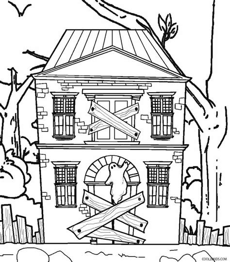 scary haunted house coloring pages   print