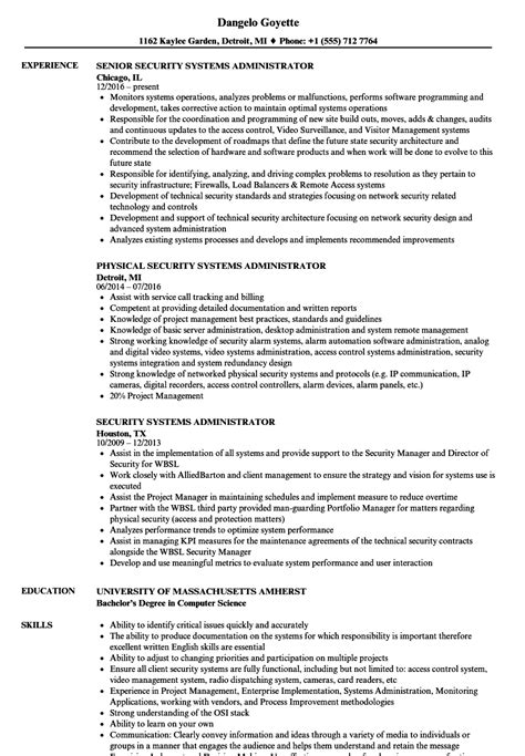 It Systems Administrator Resume by Security Systems Administrator Resume Sles Velvet