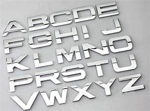 Car chrome metal auto emblem badge decals letter sticker a for Letter transfers for metal