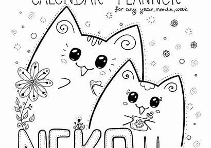 Calendar Neko Cat Planner Printable Colour Colouring