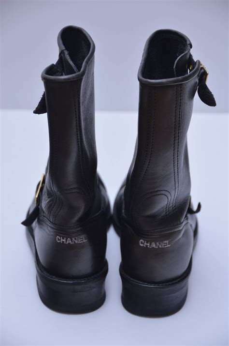 chanel vintage motorcycle leather boots   stdibs