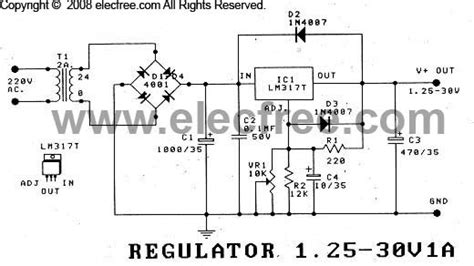 fuente de voltaje regulable de 1 25 a 30v con lm317t circuitos electronicos