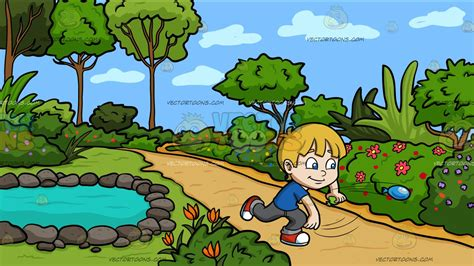 A Boy Playing With Water Balloons At A Country Garden With