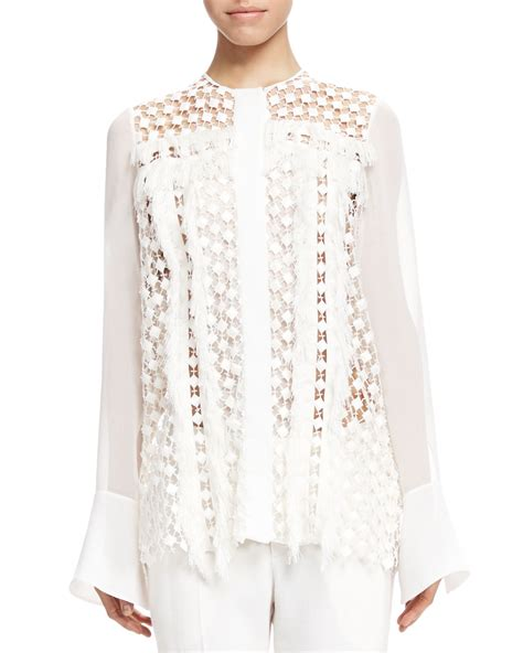lace blouse chloé fringe trim lace blouse in white lyst