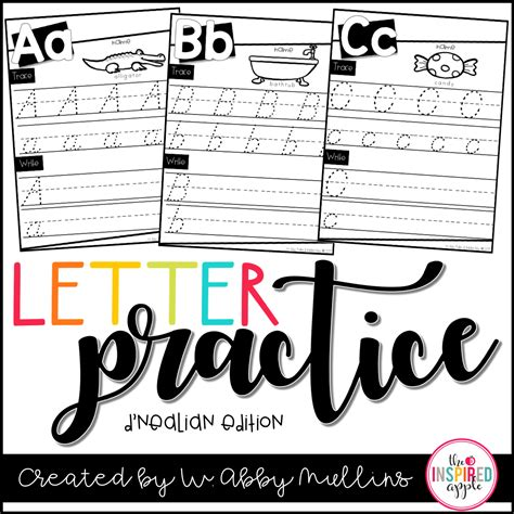 set  dnealian letter practice worksheets