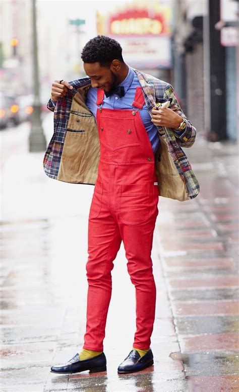 diy fire red overalls sports coat bow tie norris