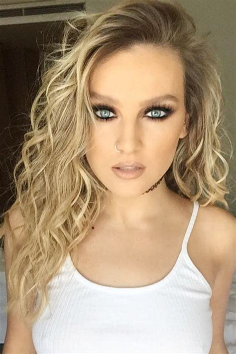 perrie edwards curly light brown barrel curls dark roots