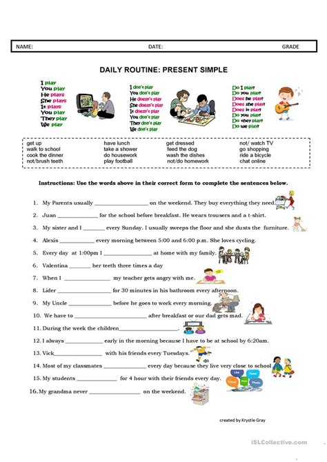 daily routine present simple english esl worksheets