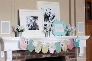 Wedding shower banner mantel landeelucom for Wedding shower decor