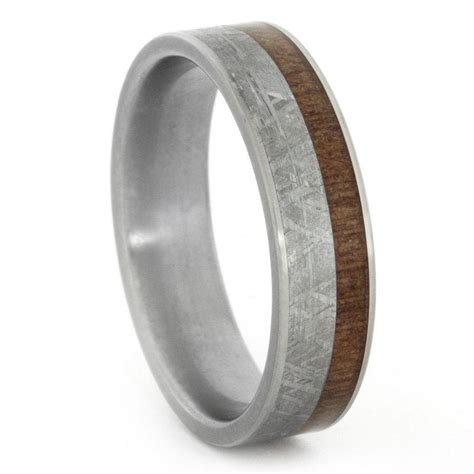 meteorite and wood ring with titanium sleeve and accents