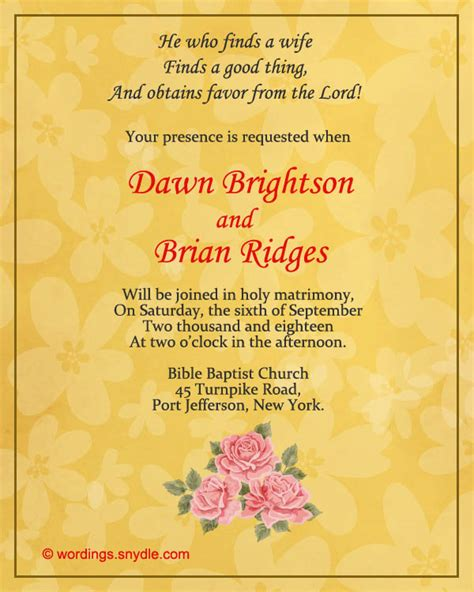 two way christian wedding invitation wording sles wordings