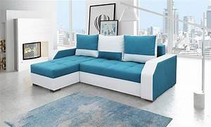 canape d39angle universel bleu et blanc With tapis de couloir avec canapé convertible petit