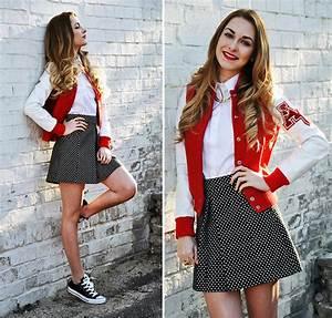 College Look Style : karina p american college jacket missguided shirt converse shoes cool dots lookbook ~ Orissabook.com Haus und Dekorationen