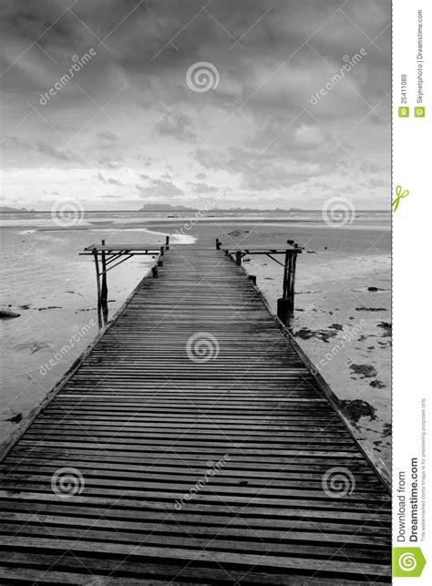 black  white wooden bridge stock image image