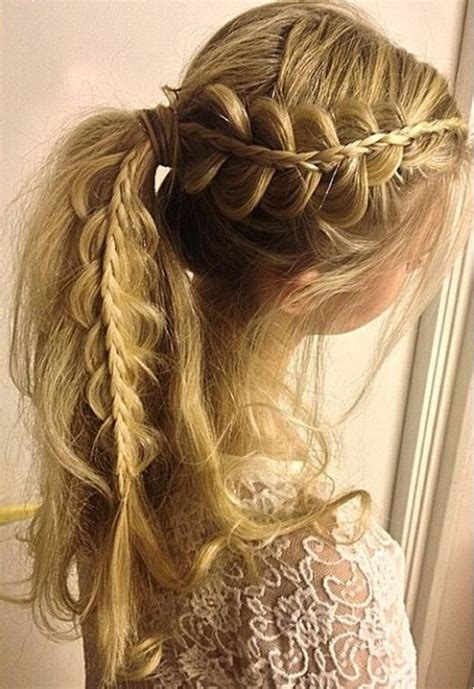 adorable french braid ponytails  long hair popular
