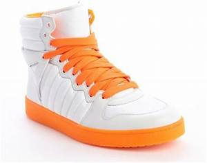 Gucci White And Neon Orange Padded Nylon High Top Sneakers