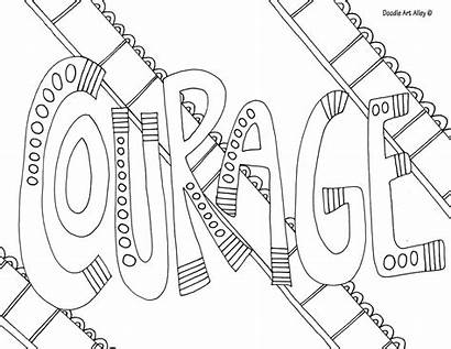 Courage Coloring Pages Doodle Word Alley Colouring