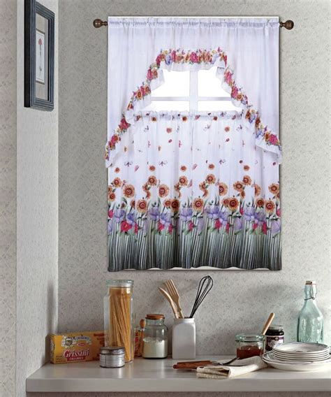 blossom complete tier swag set kitchen curtain set