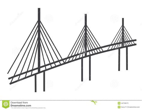 cable bridge drawing stock illustration image