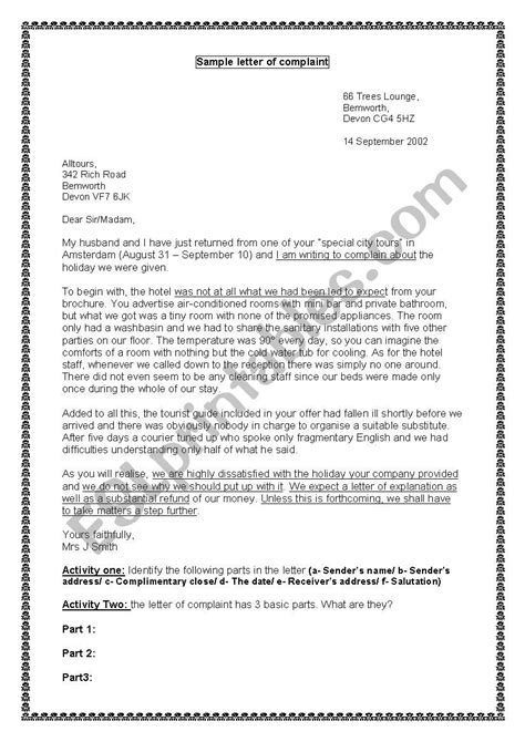 Letter of Complaint 4th Form - ESL worksheet by j_victoire