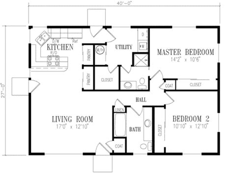 Ranch Style House Plan 2 Beds 2 Baths 1080 Sq/Ft Plan #1