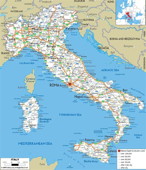 large detailed road map  italy   cities