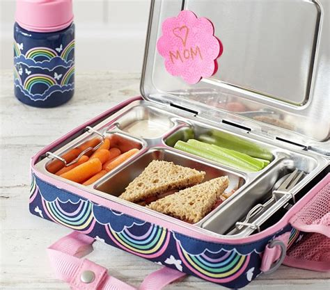 pottery barn lunch box mackenzie navy rainbow all in one lunch bag pottery barn