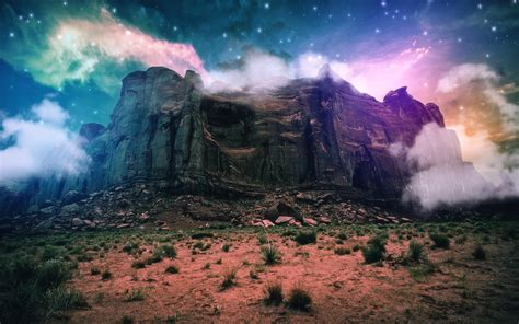 Best Hd Space Wallpapers 壁纸 幻想风光 创造性的 山 悬崖 云 空间 石头 星星 2560x1600 Hd 高清壁纸 图片 照片