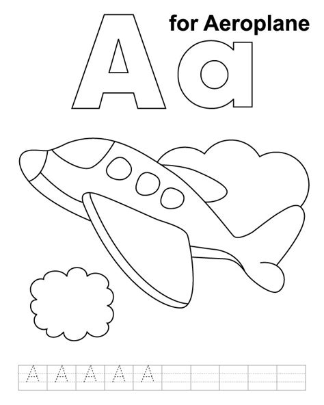 aeroplane coloring page  handwriting practice