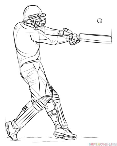 draw  cricket player step  step drawing tutorials