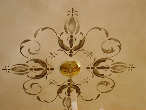 Ceiling Stencils by Surfaces With Paint Painted Ceiling Medallions