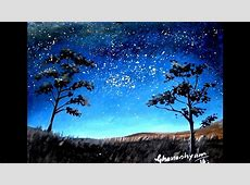 How to paint a night sky painting with watercolor Paint