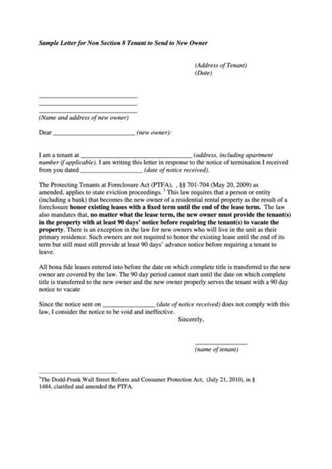 sample letter   section  tenant  send