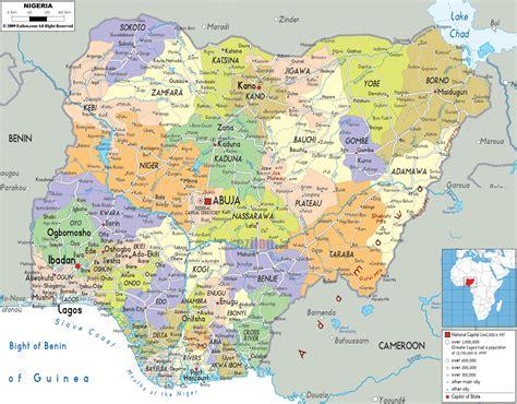 political map  nigeria ezilon maps