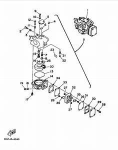 1997 Yamaha Carburetor Parts For 8 Hp 8mshv Outboard Motor