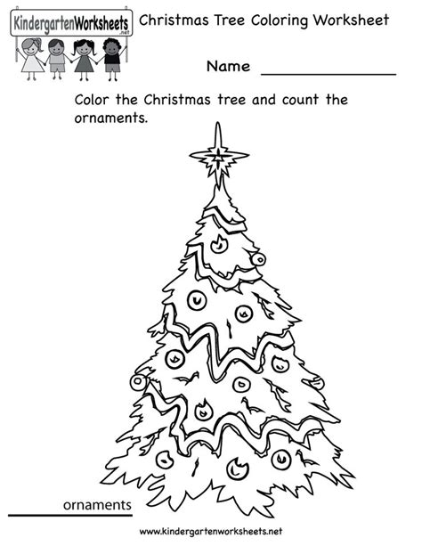 kindergarten christmas tree coloring worksheet printable homeschool pinterest trees