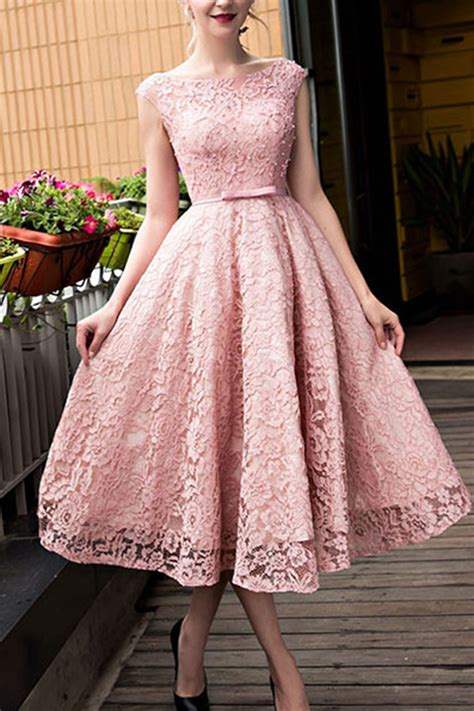 Pink Lace Round Neck A Line Knee Length Formal Dresses