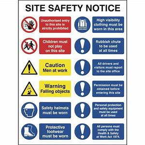 Construction Site Safety Sign With 2 Prohibition, 2 ...