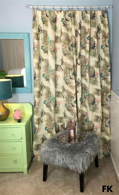 vtg mid century 50 s 6 barkcloth fabric drape curtains