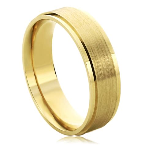 men  gold mm wedding ring brushed center stepped edges