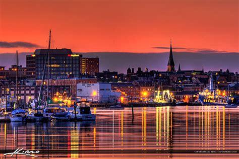 portland maine downtown city lights  sunset  marina