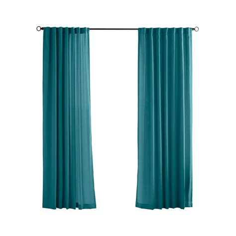 teal drapes shop solaris 108 in l teal canvas solid outdoor window curtain panel at lowes com